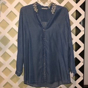 Jean long sleeve button down